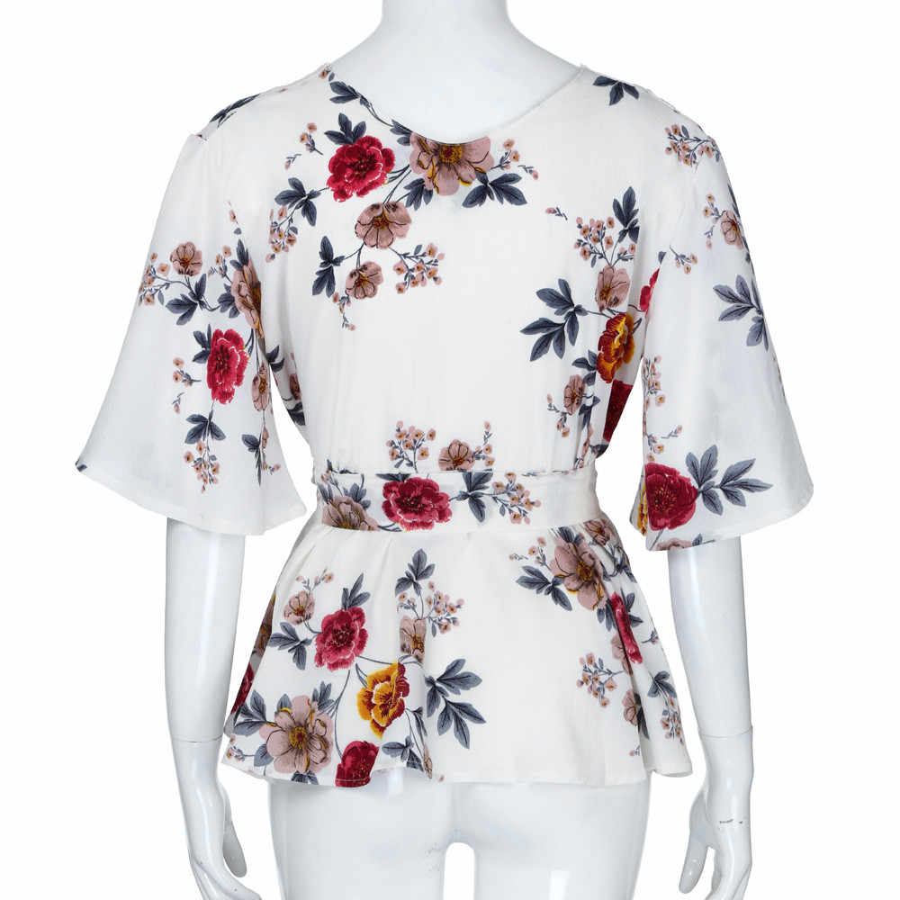 KANCOOLD Plus Size XL-L5 Fashion Shirt Women Casual VNeck Short Sleeve Floral Print Belted Surplice Peplum Blouse Top PJ0813