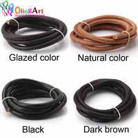 Olingart Dia 1,5/2/3/4/5/6mm negro/natural/marrón/Glaseado cuerda de cuerda redonda de cuero para collar pulsera DIY fabricación de joyas