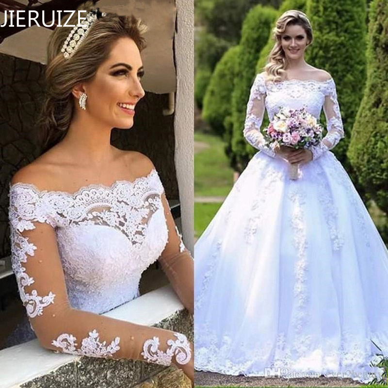 JIERUIZE Vintage Lace Appliques Ball Gown Wedding Dresses 2019 Off the Shoulder Long Sleeves Cheap Wedding