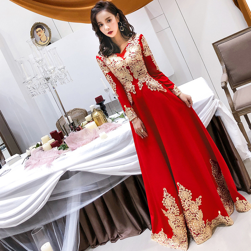 Long Sleeve Red Oriental Style Dresses Chinese Bride Vintage Traditional Wedding Cheongsam Dress Long Qipao Plus Size XS-3XL