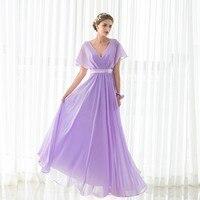 Элегантное фиолетовое платье подружки невесты Новое поступление Длинные в наличии шифон Свадебная вечеринка платье плюс Размеры