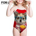 Funny Puppies Printing Cats Animal Style Swimsuit for Girls Candy Color One Piece Swimwear Kids One-piece Swimsuit Children