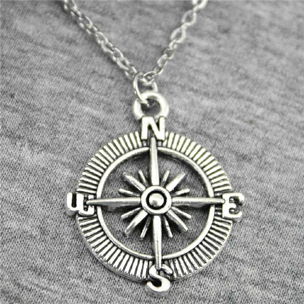 2 Colors Antique Silver Antique Bronze Tone 24mm Compass Pendant Necklace For Women 2019 Fashion Jewelry Gift Dropshipping