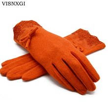 VISNXGI Winter 2017 New Women Warm Gloves Solid Lace Cashmere Gloves Wrist Length Fashion Mittens Gloves Female Women's Gloves