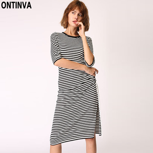08ce871161f6 Black White Striped Split Sweater Dresses Casual Half Sleeve O Neck Knee  Length Knitted Dress Slim