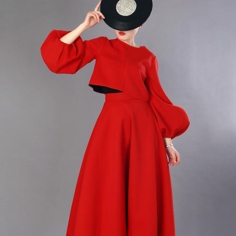 LANMREM 2019 جديد الربيع أزياء فانوس كم كاملة قصيرة نوع قمم + تنورة عالية الخصر الإناث قطعتين مجموعة Vestido YF67603-في مجموعات نسائية من ملابس نسائية على  مجموعة 1