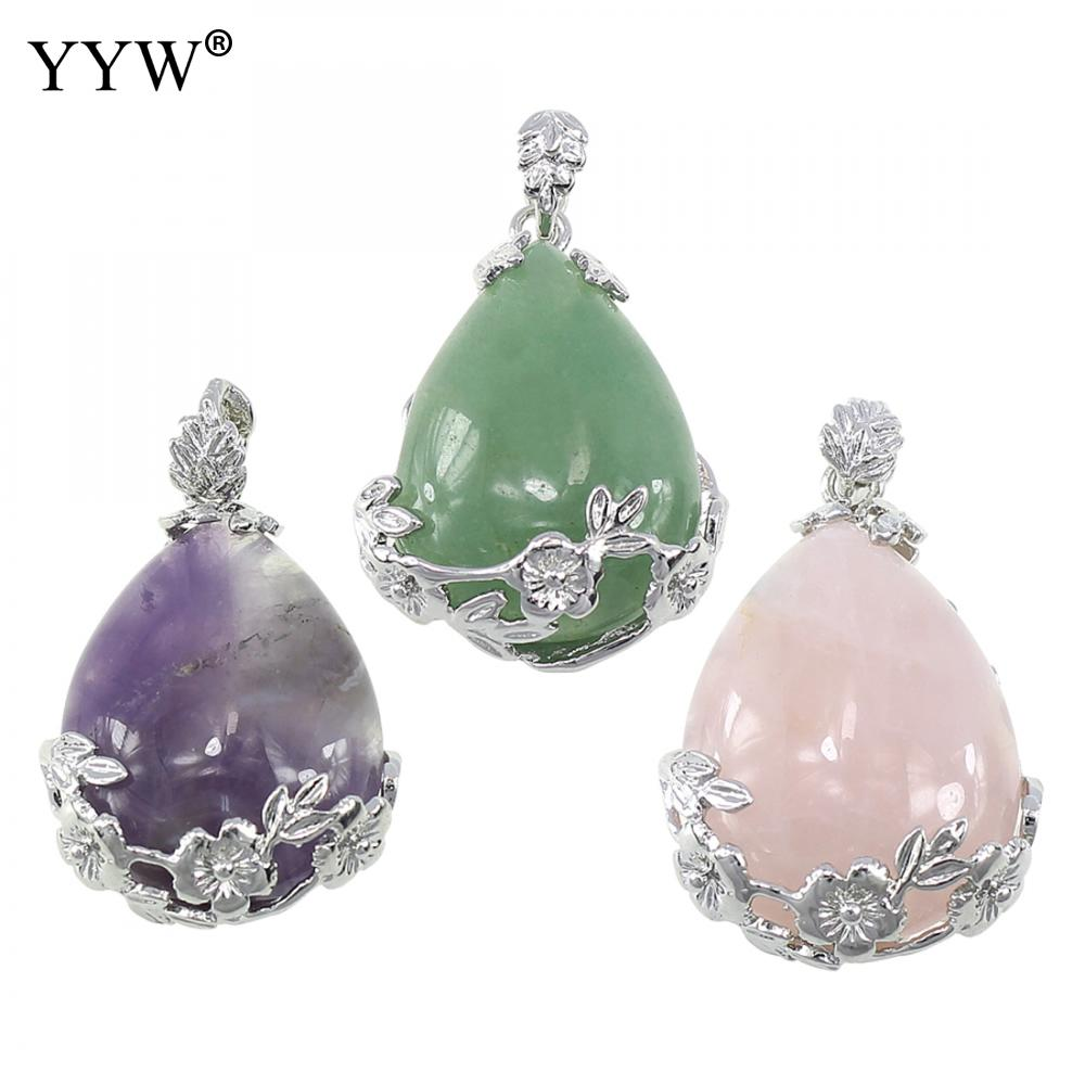 New Natural Crystal Stone Quartz Pendant Semi Precious Water Drop Bead Natural Pink Pendant Women Necklaces Created Diy Jewelry