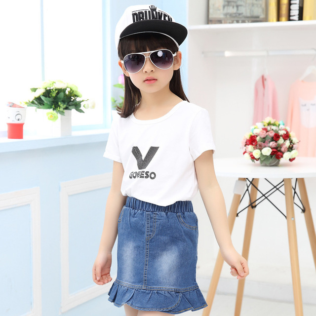 Дети девушки джинсовая юбка хлопок принцесса юбки для девочек летом новых корейских свободного покроя милый фермент мыть ковбой юбка листья лотоса