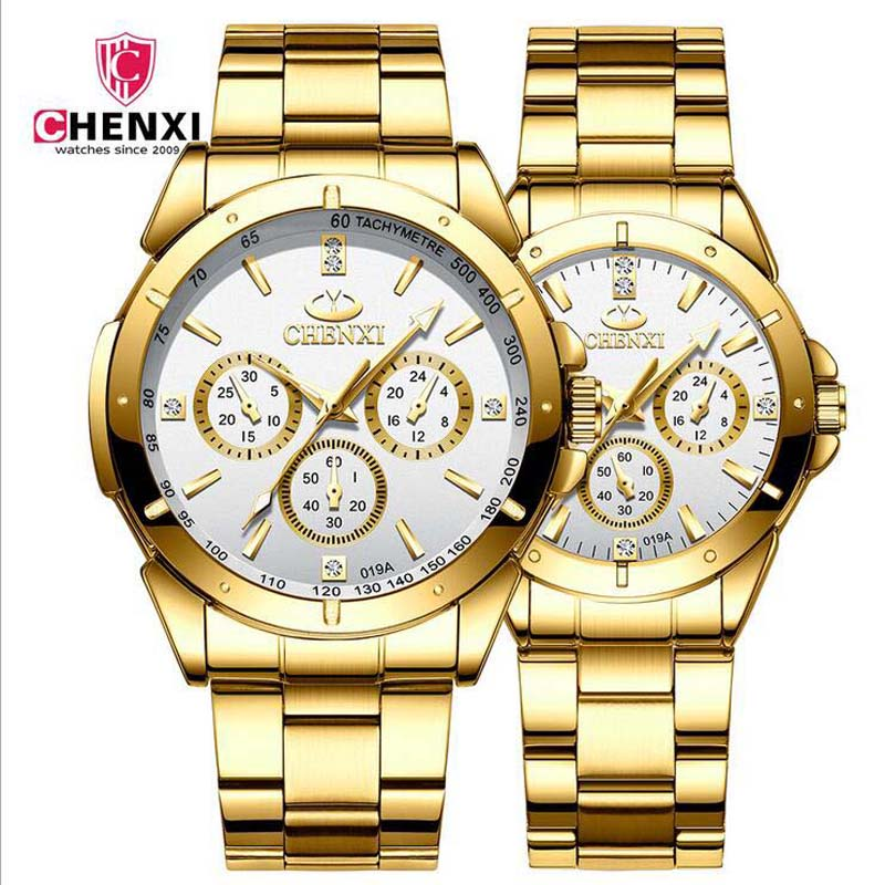 Lover's Watches High-grade diamond gold couple watch stainless steel waterproof luminous quartz business watch men and women