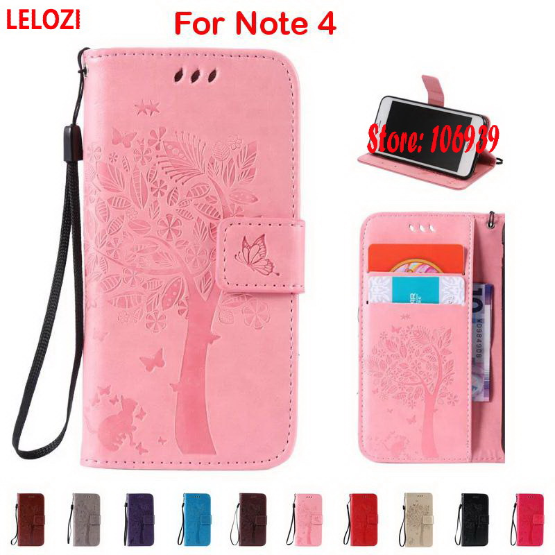 LELOZI Tree Flower Leaf Cat Butterfly PU Leather Clamshell Book Wallet Case capinha coque For Samsung Galaxy Note 4 Pink Gold