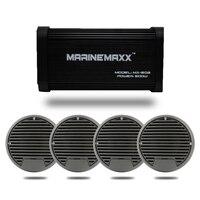 500 Watts 4 Channels Waterproof Marine Bluetooth Amplifier 4pcs X 3 Waterproof Marine Speakers