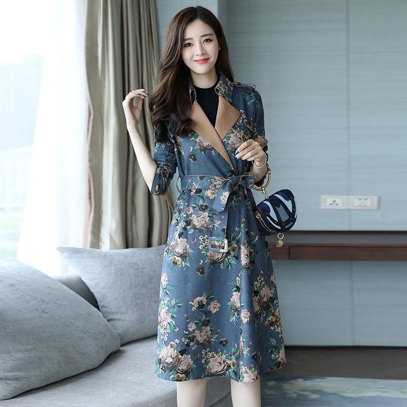 Plus Size 3XL Suede   Trench   Coat For Women Manteau Femme Fashion   Trench   Coats With Belt Windbreaker Elegant Long Coat Women C5576