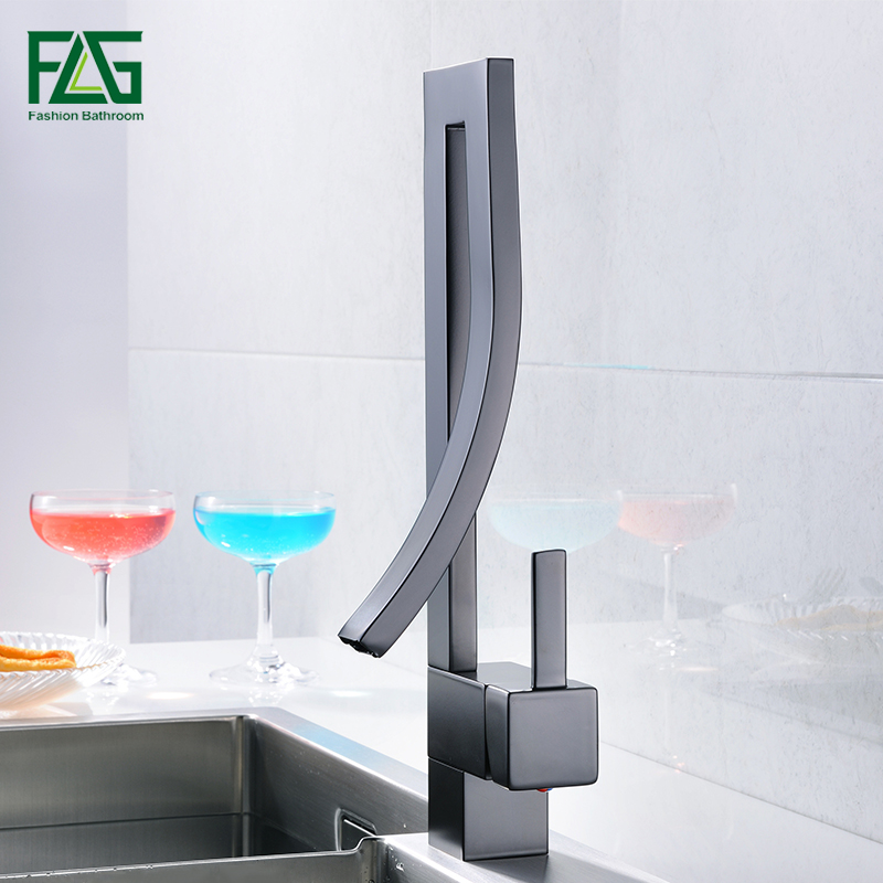 FLG Black Brass Basin Faucet Single Handle Waterfall Basin Mixer Tap Hot And Cold Bathroom Faucet Sink Waterfall Faucet flg luxury basin faucet bathroom sink mixer golden finish cold and hot brass tap water faucet single handle basin mixer tap m088