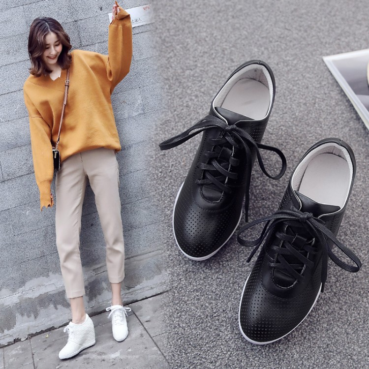 Women Sneakers Fashion Women Height Increasing Breathable Lace-Up Wedges Sneakers Platform Shoes Leather Woman Casual ShoesWomen Sneakers Fashion Women Height Increasing Breathable Lace-Up Wedges Sneakers Platform Shoes Leather Woman Casual Shoes