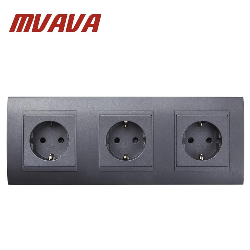 ᗑMVAVA Triple EU Standard Wall Socket Black PC Panel 3 Frame AC 110 ...