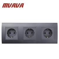 MVAVA Triple EU Standard Wall Socket Black PC Panel 3 Frame AC 110~250V 16A Germany Type Power Plug Outlet Sockets