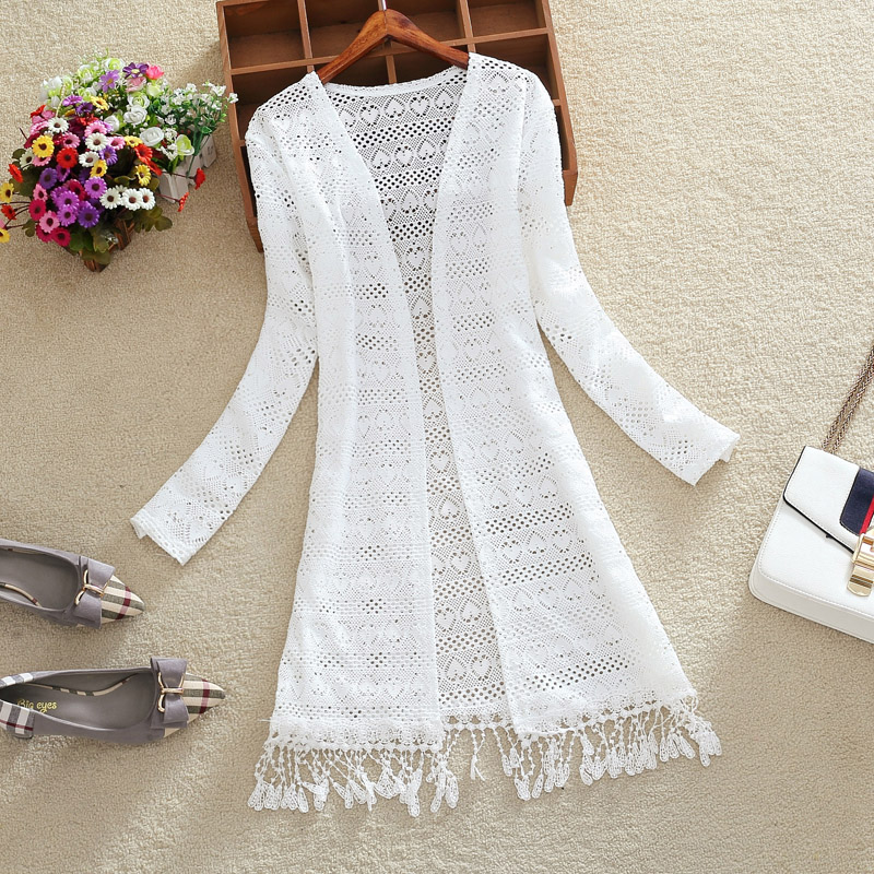 Women Slim Thin Lace Jakcet Chaqueta Mujer New 2019 Summer Long Sleeve Hollowing Tassels Medium Long Cardigan Womens Outerwear