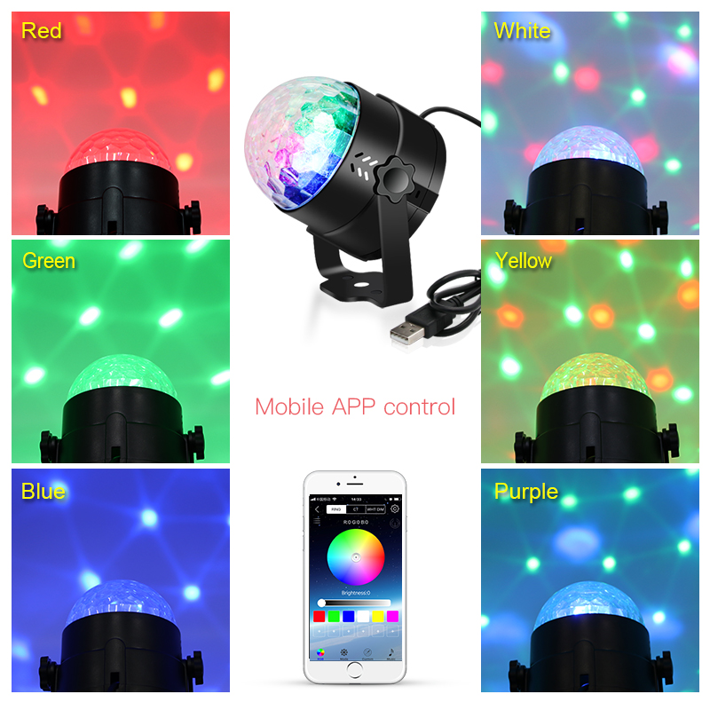 Usb Led Disco Light Ball Sound Party Lights Dj Stage Rotating Disco Ball Lamp Laser Lights With Bluetooth App Remote Control Car Stage Lighting Effect Aliexpress