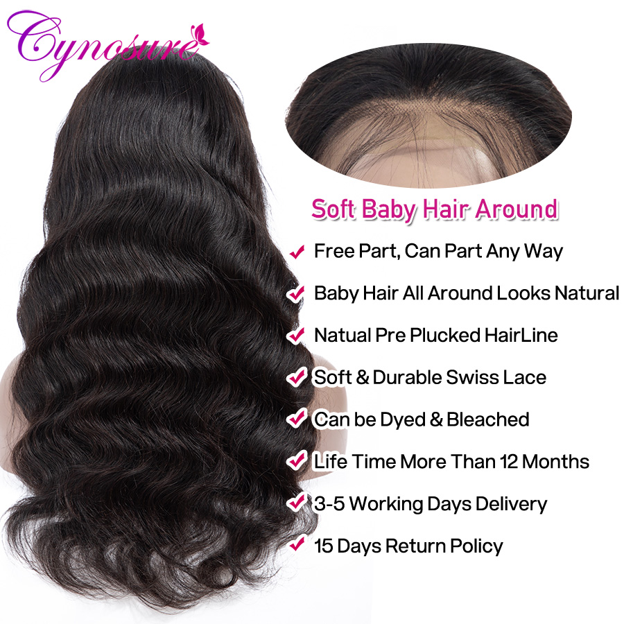 Cynosure 4x4 Lace Front Human Hair Wigs Pre Plucked with Baby Hair For Black Woman Remy Brazilian Body Wave Lace Closure Wig