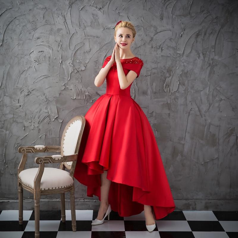 Asymétrique Robe De Soirée robes De grande taille 2018 Luxe Bal Robe Formelle À Manches Courtes Robe De Soirée Formelle Robe De Soirée - 4