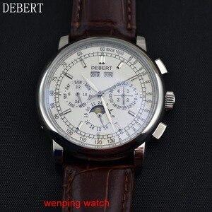 """Image 4 - Debert 42 מ""""מ חיוג לבן מקרה פלדת ירח שלב אוטומטי גברים שעונים לE2481"""