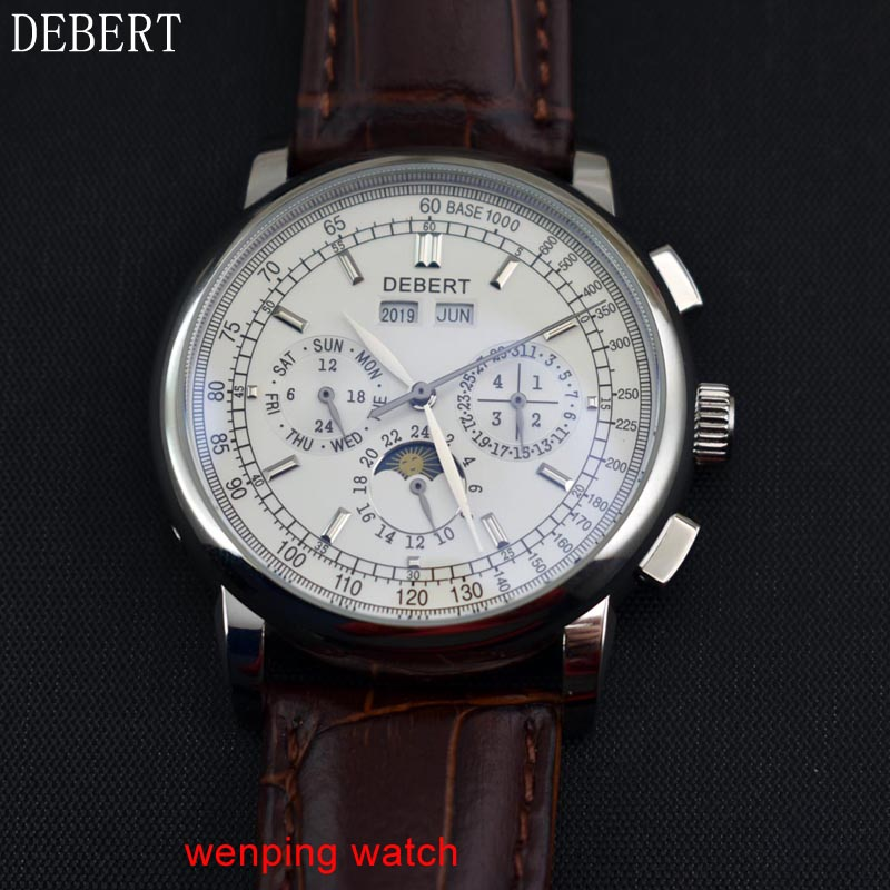 Image 4 - Debert  42mm White Dial Moon Phase steel case Automatic Mens 