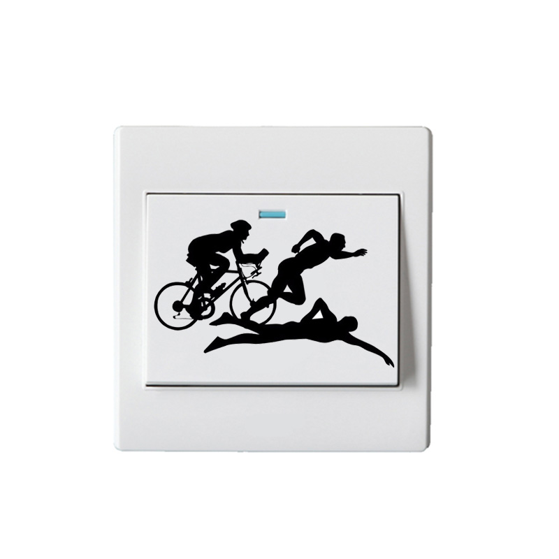 Triathlon Sports Vinyl Switch Stickers Decoration Living Wall Decals 5WS0488
