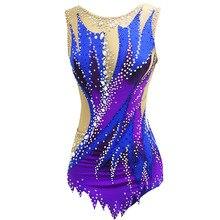 Фиолетовый гимнастический купальник для соревнований по гимнастике, детский купальник для выступлений, индивидуальный стиль и размер