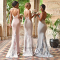 Backless Bridesmaid Dresses Long Mermaid Sexy Greek Style Lace Wedding Guest Dress Spaghetti Straps Cheap Prom Dress 2017 Robe