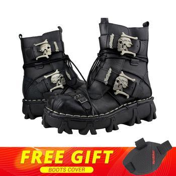 313a2d85d43 Nuevo botas de motocicleta hombres Retro cuero genuino de piel de vaca  cráneo Punk Martin zapatos