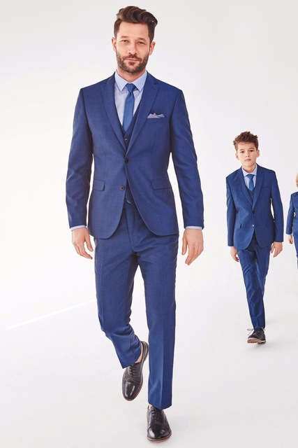 formal groom prom father and son men suit 3pieces jacket pant vest