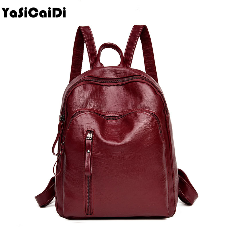 YASICAIDI Fashion PU Leather Women Backpack Solid School Bags For Teenager Girls Large Capacity Casual Women Blackpack Mochila