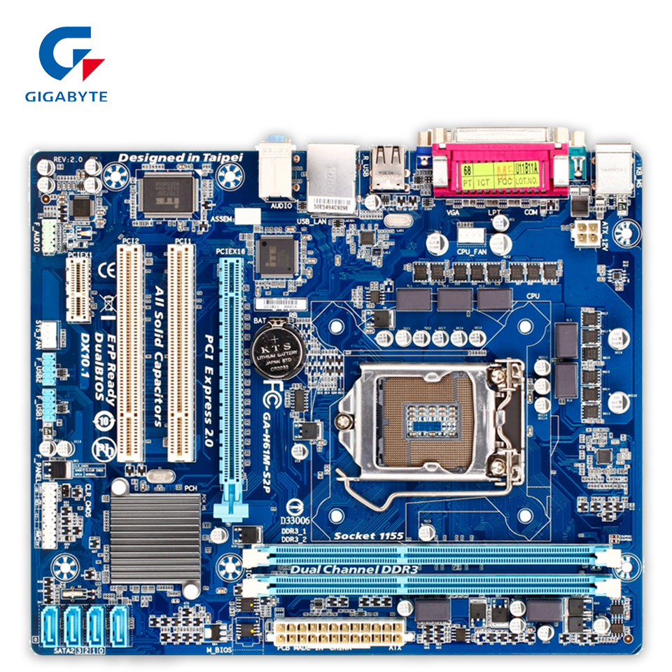Gigabyte GA-H61M-S2P Original Used Desktop Motherboard H61M-S2P H61 Socket LGA 1155 DDR3 Micro-ATX On Sale фурминатор для собак короткошерстных пород furminator short hair large dog