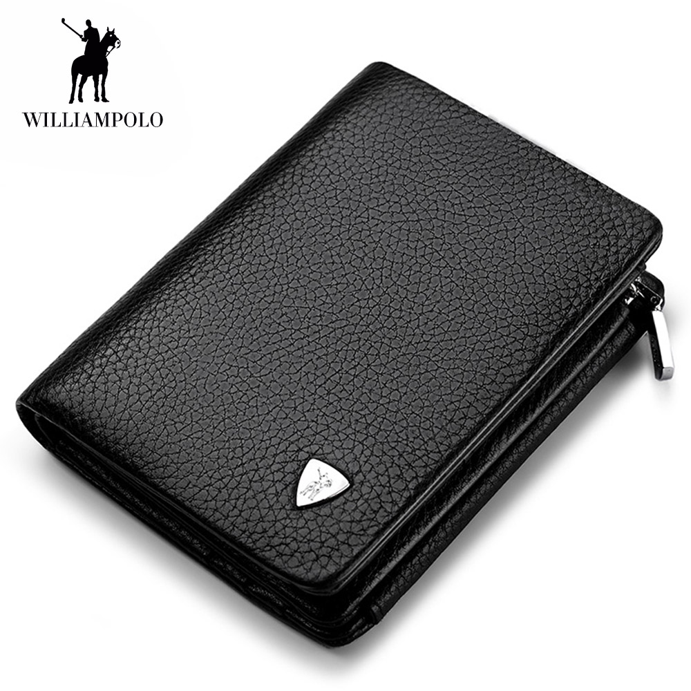 WilliamPOLO luxury brand Wallets Men Genuine Leather Trifold Card Holder Purse Clutch Wallet Men Leather Coin Pocket Coin Purse williampolo genuine leather men wallet handbag coin pocket phone wallets card holder leather long clutch zipper black brown 80