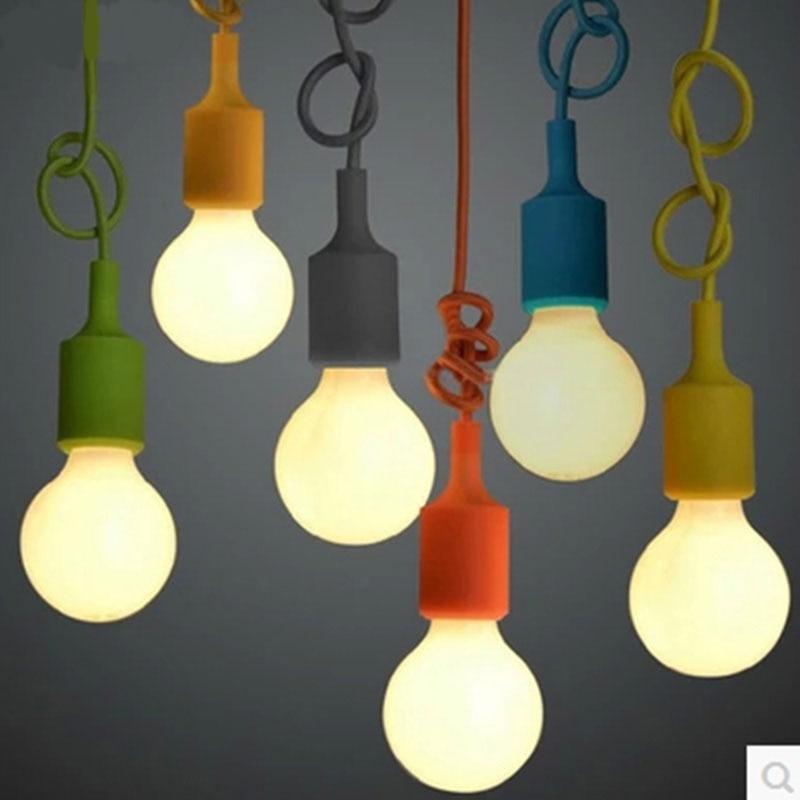 Modern Color Pendant Lights E27 Holder AC110 240V Silica Gel DIY Pendant Lamp for Bar Restaurant