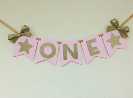 New Pink Gold ONE Banner Highchair Bunting First Birthday Table Flag Baby 1st Little Stars Birthday Party Decoration Ribbon Bows