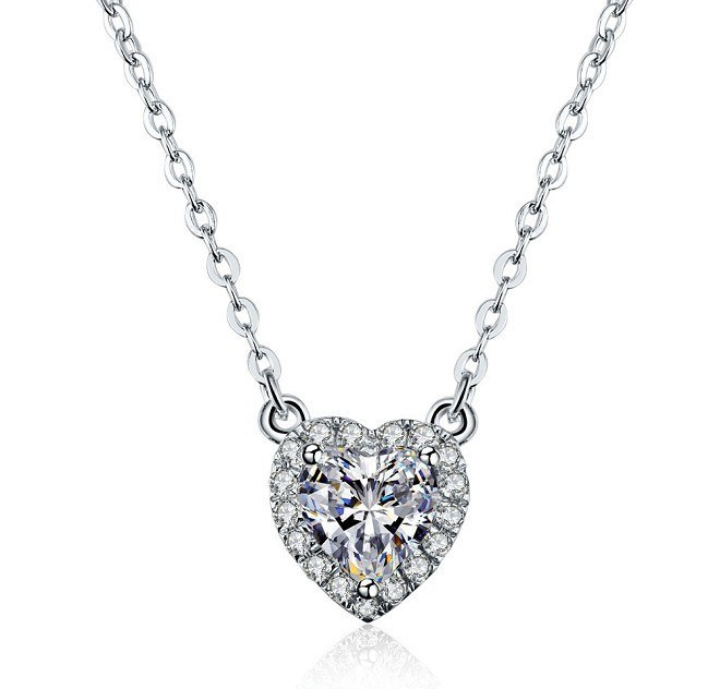 TN030 2ct Heart Shape Cut Synthetic Gem Pendant 925 Sterling silver Wedding Engagement Necklace