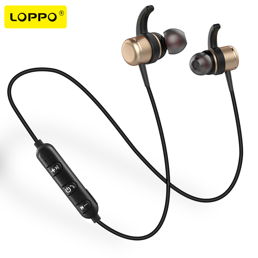 LOPPO Wireless Bluetooth Headphone Earphones Metal bass Neckband earphone With MIC Magnetic headphone for Phone iphone mi free delivery cow leather handbag 2017 new fashion shoulder messenger bag fashion stitching small square bag chain bag