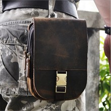 New Top Quality Genuine Real Leather Cowhide men vintage Brown Small Hook Belt Bag Waist Pack 6″ Phone Case