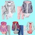 2017 Marca la ropa Del Bebé 100% Algodón de Primavera y Otoño ropa conjunto Chaqueta + body + Pant 3 unids para muchachas de los bebés