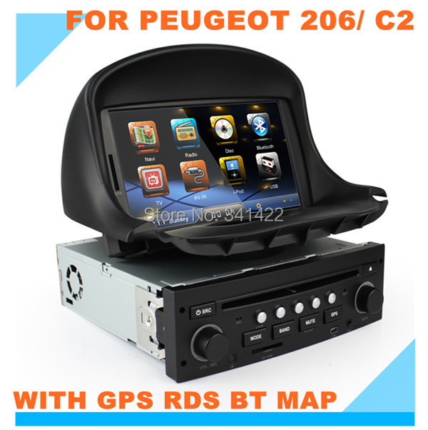 Factory price! Dvd player peugeot 206 (1998-2009)/ citroen c2 GPS RDS Radio TV swc Multi-language can bus free map - Car Multimedia System store