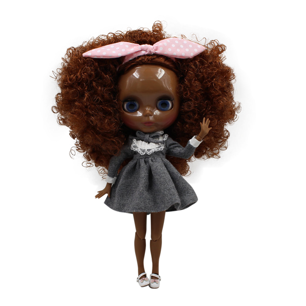 Blyth nude doll SUPER BLACK Darkest skin tone 30cm deep brown Afro hair JOINT body 280BLQE965