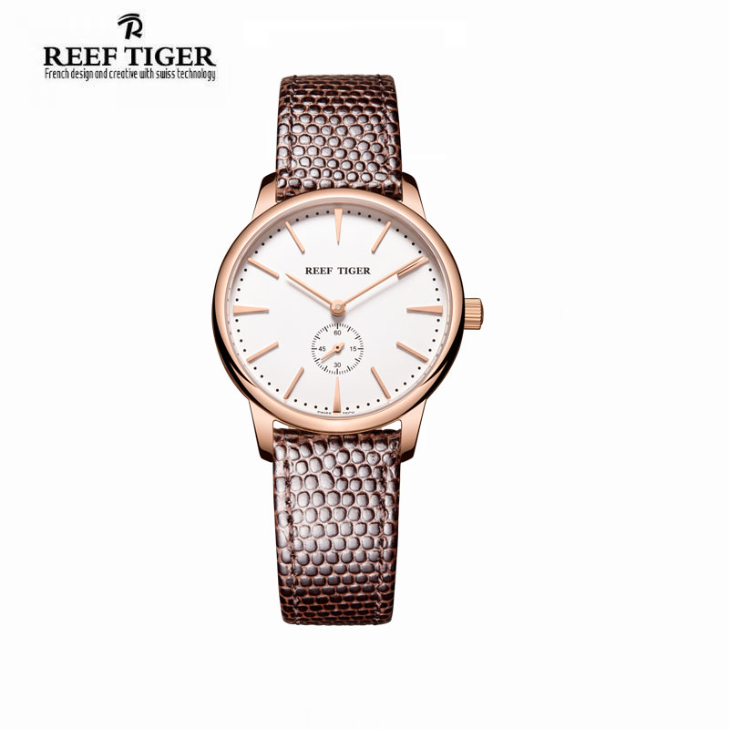 цены  Reef Tiger/RT Rose Gold Ultra Thin Quartz Watches For Men Rose Gold Watches with Stingray Leather Strap Watch RGA820