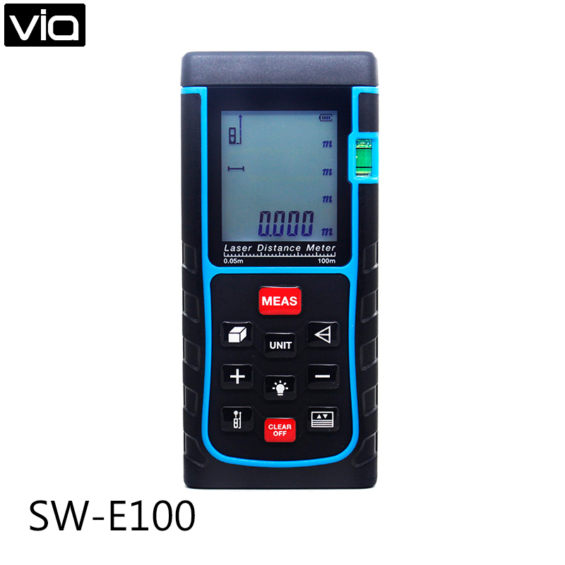 SW-E100 Free Shipping 100m 262ft Digital Laser Distance Meter Bubble Level Tape Measure Area/volume Tool
