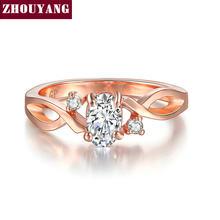 Zhouyang anéis de casamento para as mulheres simples forma ondulada quatro garra oval zircônia cúbica rosa cor ouro presente festa moda jóias r785