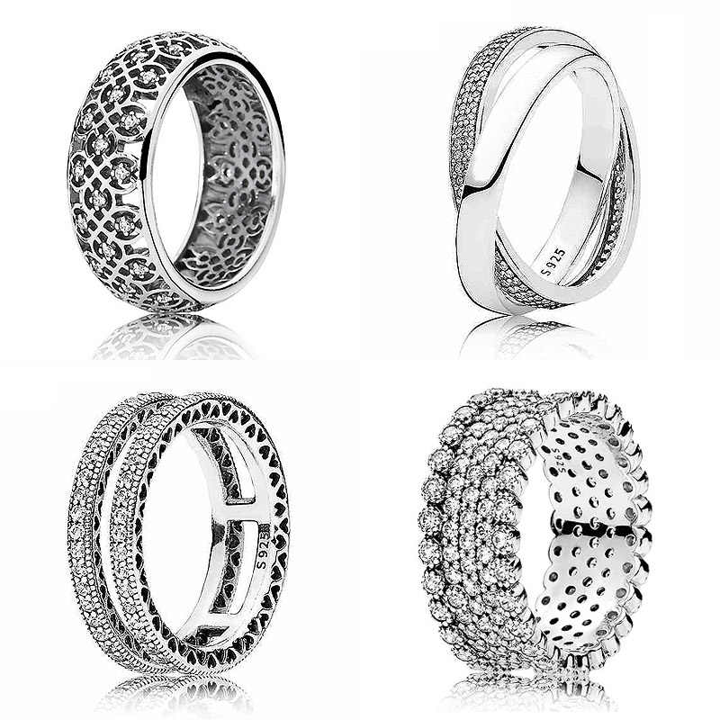 9a3a1abd0 New 925 Sterling Silver Ring Lavish Sparkle Promise Rings With Crystal For Women  Wedding Party Gift