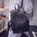 Bailar 2016 Women's backpacks rivets tassel drawstring versatile PU leather school bag travel high capacity high quality purses