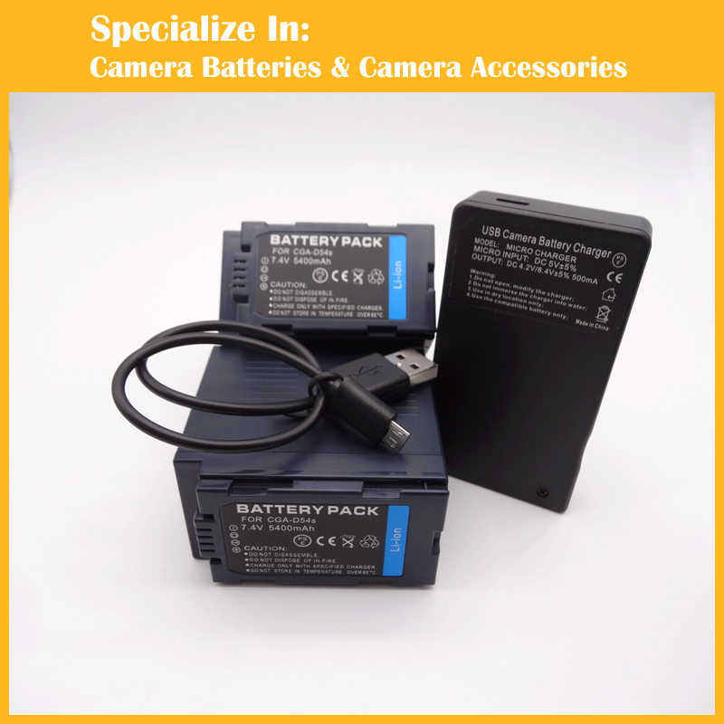 Camcorder 2pcs battery + charger CGR-D54 CGA-D54S VW-VBD55 CGR D54 for AG-DVC60 AG-DVX100 AG-DVC30 AG-DVX100A 1pcs cga s006e cgrs006a cgr s006e cgr s006a 1b bp dc5u rechargeable camera li ion battery for panasonic bp dc5 e