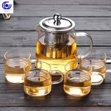 Хорошая прозрачное боросиликатное стекло Чай горшок с 304 Нержавеющаясталь Infuser тепло заварник для кофе, чая инструмент в наборе с заварочным чайником