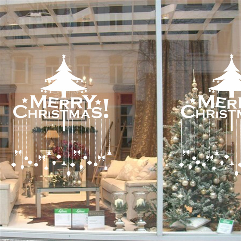 christmas tree decoration wall stickers living room store window decals new year home decor mural poster in wall stickers from home garden on